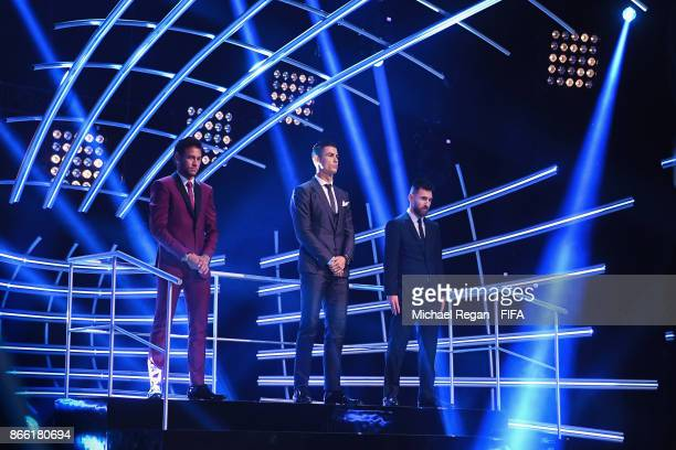 Neymar Cristiano Ronaldo and Lionel Messi pose during The Best FIFA Football Awards at The May Fair Hotel on October 23 2017 in London England