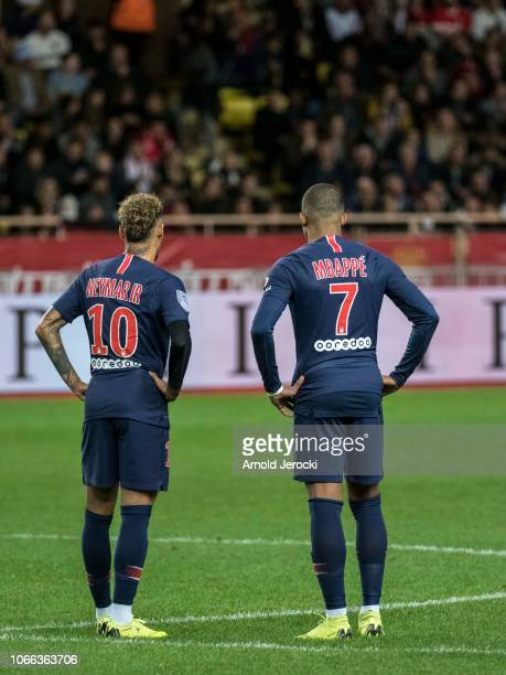 Neymar da Silva and Kyllian Mbappé during the Ligue 1 match between AS Monaco and Paris SaintGermain at Stade Louis II on November 11 2018 in Monaco...