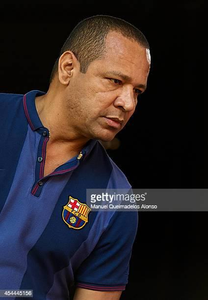 Neymar Da Silva father of Neymar JR looks on prior to the La Liga match between Villarreal CF and FC Barcelona at El Madrigal stadium on August 31...