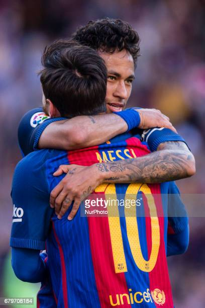 Neymar da Silva of FC Barcelona celebrating his goal with Leo Messi FC Barcelona during the Spanish championship Liga football match between FC...