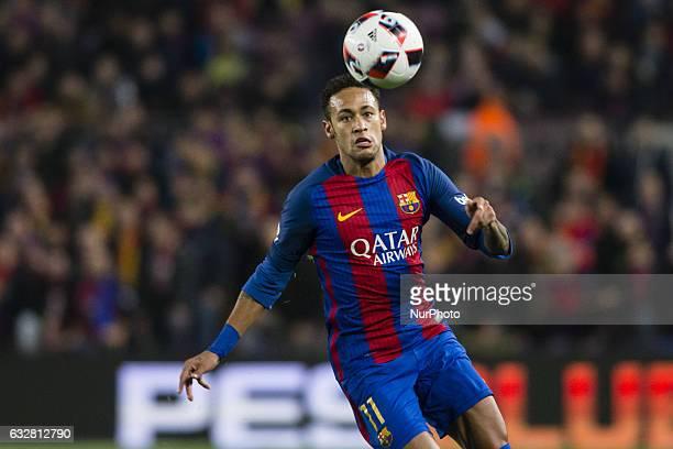 Neymar da Silva of FC Barcelona controlling the ball during the Spanish Copa del Rey match between FC Barcelona vs Real Sociedad at Camp Nou stadium...