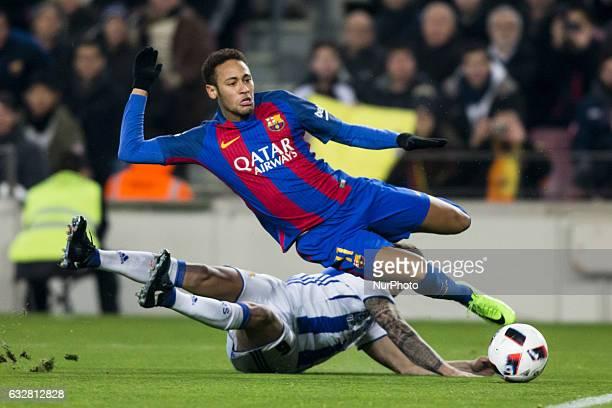 Neymar da Silva of FC Barcelona provoking a penalty during the Spanish Copa del Rey match between FC Barcelona vs Real Sociedad at Camp Nou stadium...