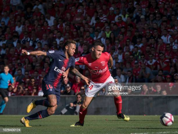 Neymar da Silva of Paris SaintGermain and Antonin Bobichon of Nimes Olympique in action during the Ligue 1 match between Paris SaintGermain and Nimes...