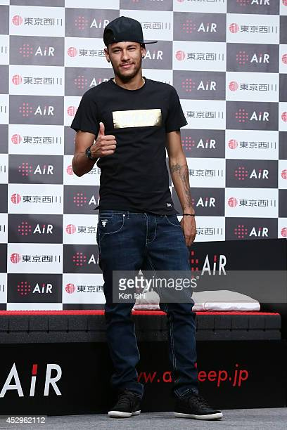 Neymar da Silva Santos attends the press conference to announce the advertising contract with Nishikawa Sangyo Co on July 31 2014 in Tokyo Japan...