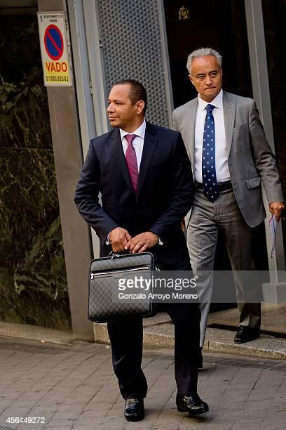 Neymar Da Silva Santos father of Brazilian FC Barcelona player Neymar JR leaves the Spanish Nathional Court after testifying before judge Pablo Ruz...