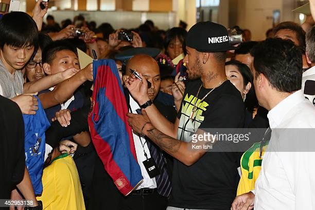 Neymar da Silva Santos is seen upon arrival at Haneda Airport on July 31 2014 in Tokyo Japan