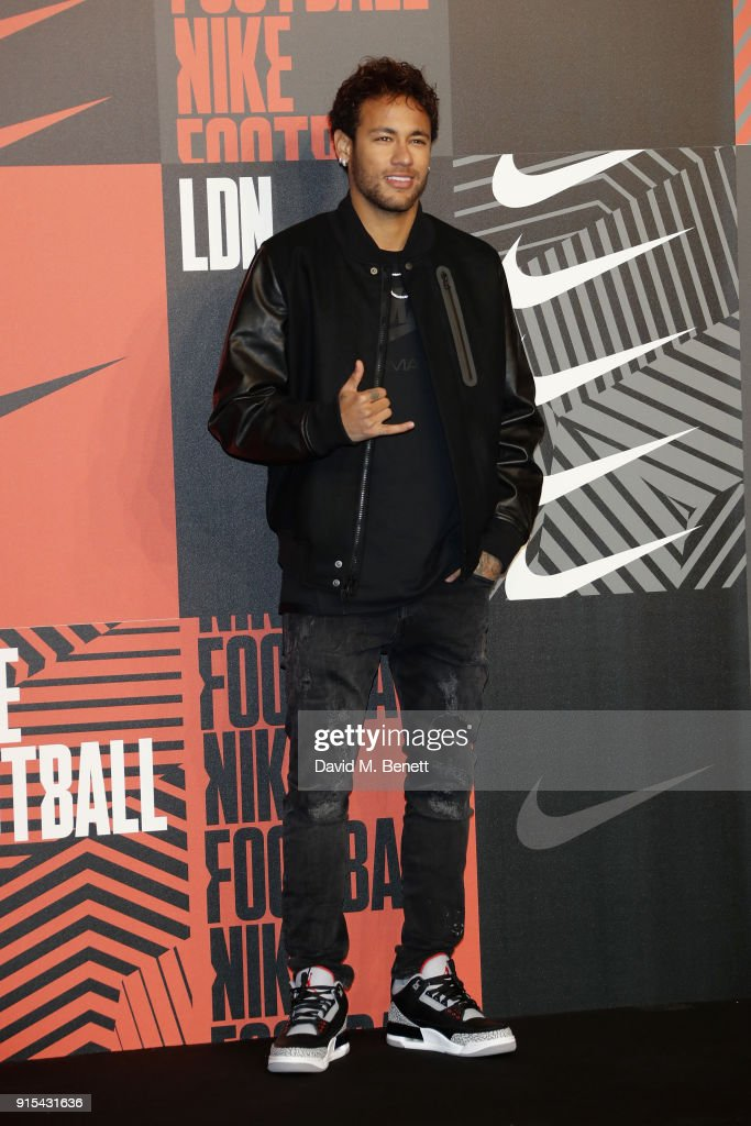 Neymar da Silva Santos Junior attends in celebration of the 20th anniversary of Nike's most iconic football boot, some of the world's best footballers arrive in South London to debut its latest versions, the Mercurial Superfly and Vapor 360 at The Printworks on February 7, 2018 in London, England.