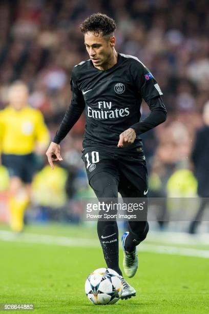 Neymar da Silva Santos Junior Neymar Jr of Paris Saint Germain in action during the UEFA Champions League 201718 Round of 16 match between Real...