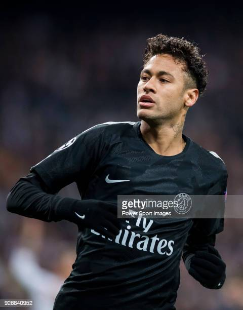 Neymar da Silva Santos Junior, Neymar Jr, of Paris Saint Germain reacts during the UEFA Champions League 2017-18 Round of 16 match between Real...