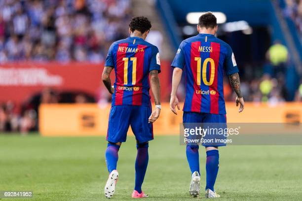 Neymar da Silva Santos Junior of FC Barcelona and Lionel Andres Messi of FC Barcelona celebrating a score during the Copa Del Rey Final between FC...