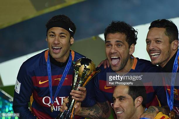 Neymar Dani Alves and Adriano of FC Barcelona celebrate the win during the FIFA Club World Cup Final match between River Plate and FC Barceloan at...