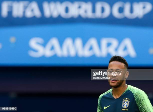 Neymar enters to the the field during a Brazil training session ahead of the Round 16 match against Mexico at Samara Arena on July 1 2018 in Samara...