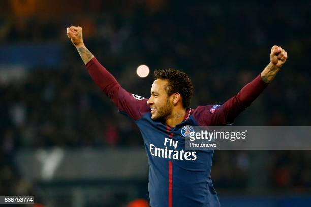 Neymar forward of PSG celebrates during the Champions League Group B match between Paris SaintGermain and Rsca on October 31 2017 in Paris France