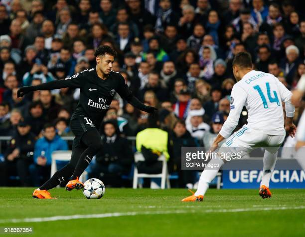 Neymar in action during the UEFA Champions league round of 16 match first leg football match between Real Madrid and Paris Saint Germain at Santiago...