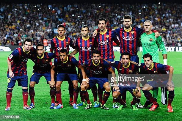 Neymar Javier Mascherano Sergio Busquets Gerard Pique Victor Valdes Lionel Messi Dani Alves Alexis Sanchez Cesc Fabregas Xavi Hernandez Jordi Alba of...