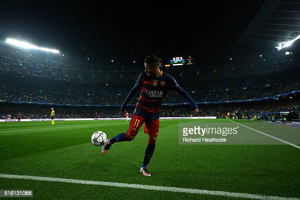 Neymar Jnr in action during the UEFA Champions League Round of 16 Second Leg match between FC Barcelona and Arsenal at the Camp Nou on March 16 2016...