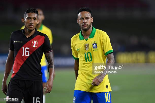 Neymar Jr. #10 of Brazil and Christofer Gonzales of Peru look on during the 2019 International Champions Cup match on September 10, 2019 in Los...
