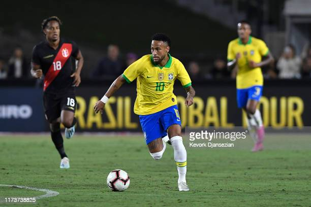 Neymar Jr. #10 of Brazil handles the ball in the 2019 International Champions Cup match against Peru on September 10, 2019 in Los Angeles, California.