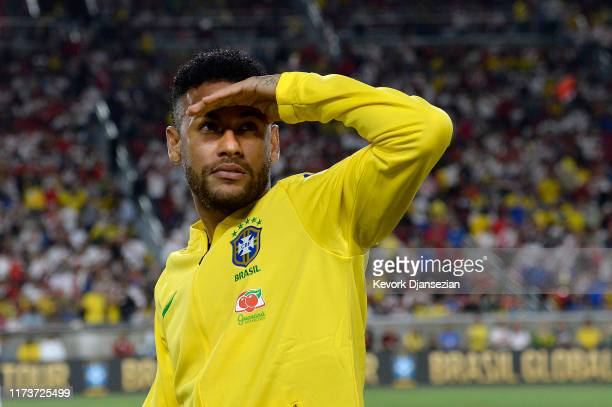 Neymar Jr. #10 of Brazil looks out during halftime in the 2019 International Champions Cup match against Peru on September 10, 2019 at Los Angeles...