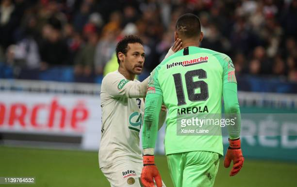 Neymar Jr and Alphonse Areola of Paris SaintGermain are disapointed after the defeat during the Coupe de France Final match between Stade Rennais and...