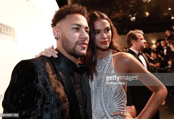 Neymar Jr and Bruna Marquezine attend the 2018 amfAR gala Sao Paulo at the home of Dinho Diniz on April 13 2018 in Sao Paulo Brazil Neymar JrBruna...