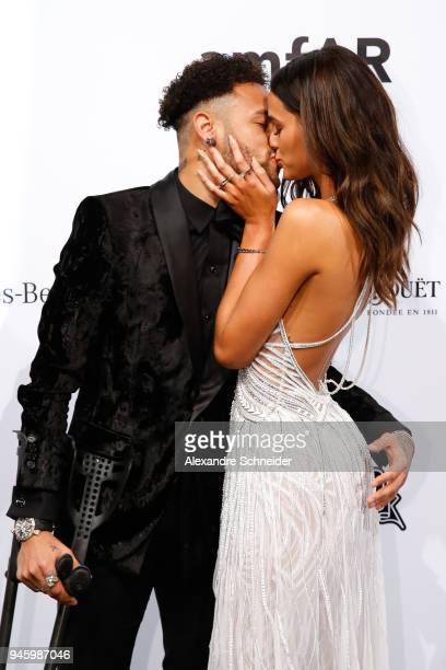 Neymar Jr and Bruna Marquezine attends during the 2018 amfAR Gala Sao Paulo at the home of Dinho Diniz on April 13 2018 in Sao Paulo Brazil