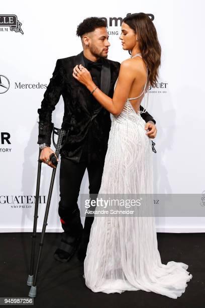 Neymar Jr and Bruna Marquezine attends during the 2018 amfAR Gala Sao Paulo at the home of Dinho Diniz on April 13 2018 in Sao Paulo Brazil