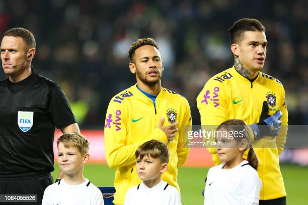 Neymar Jr and Ederson of Brazil during the International Friendly match between Brazil and Cameroon on November 20, 2018 in London, United Kingdom.