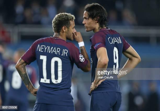 Neymar Jr and Edinson Cavani of PSG during the UEFA Champions League group B match between Paris SaintGermain and Bayern Muenchen at Parc des Princes...