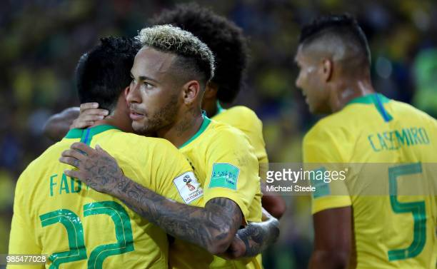 Neymar Jr and Fagner of Brazil celebrate after their second goal scores by Thiago Silva during the 2018 FIFA World Cup Russia group E match between...