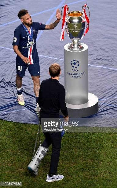 Neymar JR. And head coach Thomas Tuchel of PSG are seen at the end of the UEFA Champions League final football match between Paris Saint-Germain and...