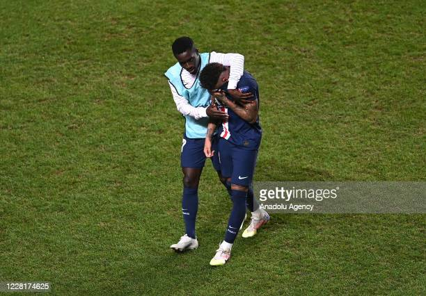 Neymar JR. And Idrissa Gueye of PSG get upset at the end of the UEFA Champions League final football match between Paris Saint-Germain and Bayern...