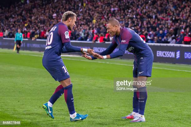 Neymar Jr and Kylian Mbappe during the French Ligue 1 soccer match between Paris Saint Germain and Olympique Lyonnais at Parc des Princes The match...