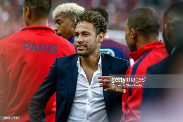 Neymar Jr and Kylian Mbappe of Paris SaintGermain are talking after the victory of the Coupe de France Final between Les Herbiers VF and Paris...