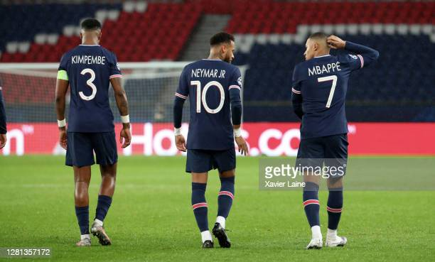 Neymar Jr and Kylian Mbappe of Paris SaintGermain celebrate a goal with teammattes during the UEFA Champions League Group H stage match between Paris...