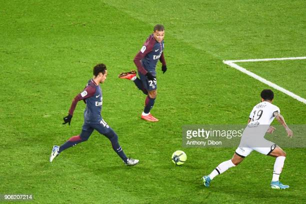 Neymar Jr and Kylian Mbappe of PSG during the Ligue 1 match between Paris Saint Germain and Dijon FCO at Parc des Princes on January 17 2018 in Paris