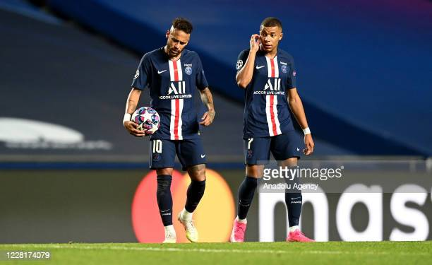 Neymar JR. And Kylian Mbappe of PSG gesture during the UEFA Champions League final football match between Paris Saint-Germain and Bayern Munich at...