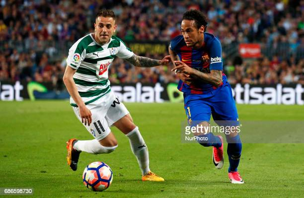 Neymar Jr and Pena during La Liga match between FC Barcelona v SD Eibar in Barcelona on May 21 2017