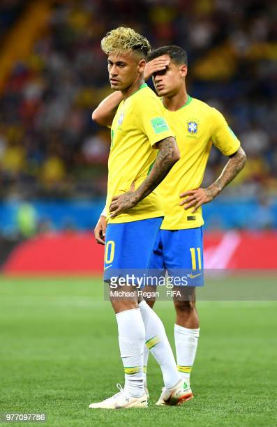 Neymar Jr and Philippe Coutinho of Brazil react during the 2018 FIFA World Cup Russia group E match between Brazil and Switzerland at Rostov Arena on...