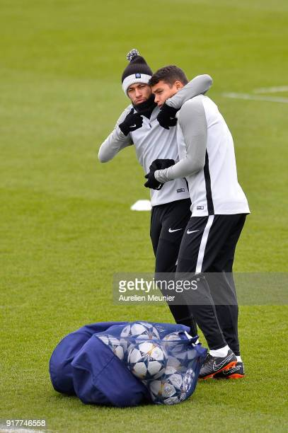 Neymar Jr and Thiago Silva arrive for a Paris SaintGermain training session ahead their Round of 16 first leg UEFA Champions League match against...