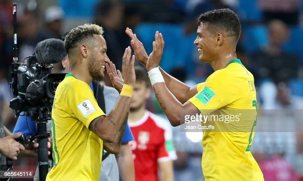 Neymar Jr and Thiago Silva of Brazil celebrate the victory following the 2018 FIFA World Cup Russia group E match between Serbia and Brazil at...