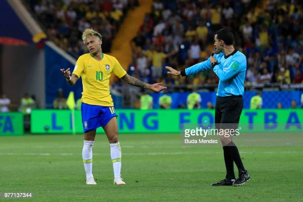 Neymar Jr argues with Referee Cesar Ramos during the 2018 FIFA World Cup Russia group E match between Brazil and Switzerland at Rostov Arena on June...