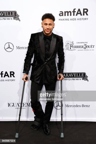 Neymar Jr attends during the 2018 amfAR Gala Sao Paulo at the home of Dinho Diniz on April 13, 2018 in Sao Paulo, Brazil.