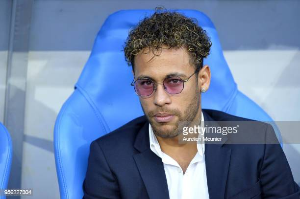 Neymar Jr attends the Coupe de France Final between Les Herbiers VF and Paris Saint-Germain at Stade de France on May 8, 2018 in Paris, France.