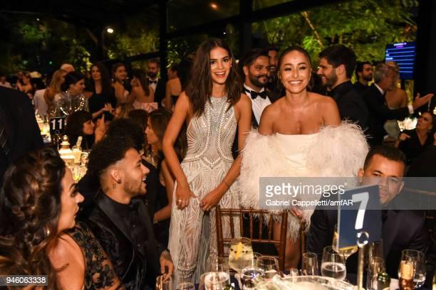 Neymar Jr Bruna Marquezine and Sabrina Sato attends the 2018 amfAR gala Sao Paulo at the home of Dinho Diniz on April 13 2018 in Sao Paulo Brazil