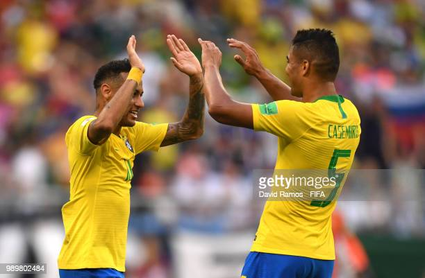 Neymar Jr Casemiro of Brazil celebrate victory following the 2018 FIFA World Cup Russia Round of 16 match between Brazil and Mexico at Samara Arena...