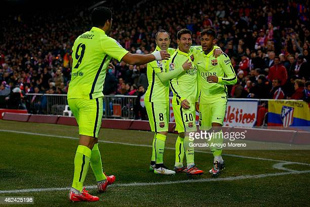 Neymar JR celebrates scoring their third goal with team mates Lionel Messi Andres Iniesta and Luis Suarez during the Copa del Rey Round of 8 second...