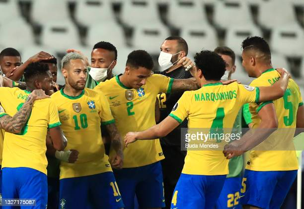 Neymar Jr. Celebrates with teammates after the first goal of his team scored by Lucas Paqueta during a semi-final match of Copa America Brazil 2021...