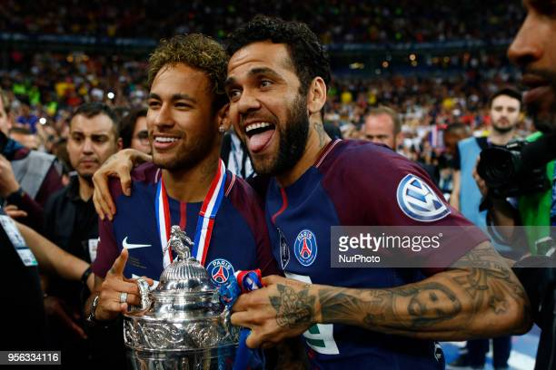 Neymar Jr Dany Alves during French Cup final between Les Herbiers VF and Paris SaintGermain at Stade de France on May 8 2018 in SaintDenis near Paris...