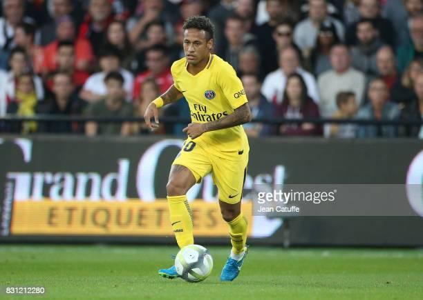 Neymar Jr during the French Ligue 1 match between En Avant Guingamp and Paris Saint Germain at Stade de Roudourou on August 13 2017 in Guingamp France